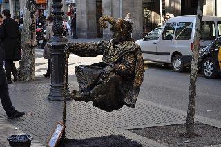 La Rambla menneskelig statue