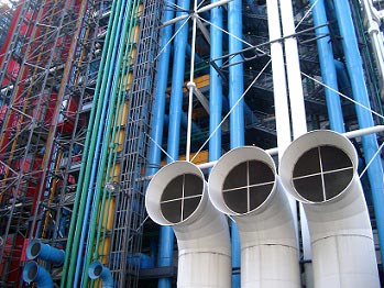 Pompidou Center, rør udvendigt, Paris