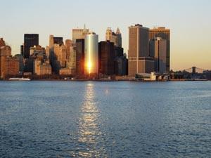 Udsigt fra Staten Island færgen, New York