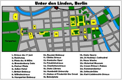 Kort over Unter Den Linden
